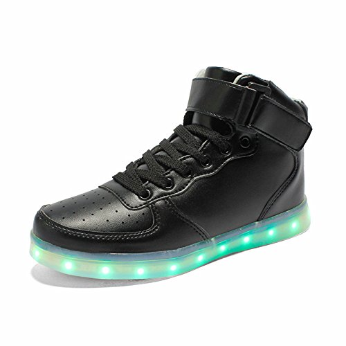 Zapatillas Led Annabelz High Top Light Up Glow Sneakers Hombres Mujeres Carga Usb Luminoso Luminoso Zapatillas Deportivas Negro