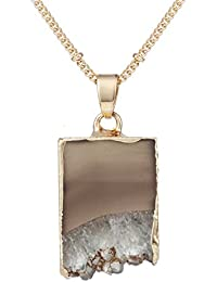 24 inch Agate Stone Crystal Pendant Necklace Natural Stone Handmade Jewelry