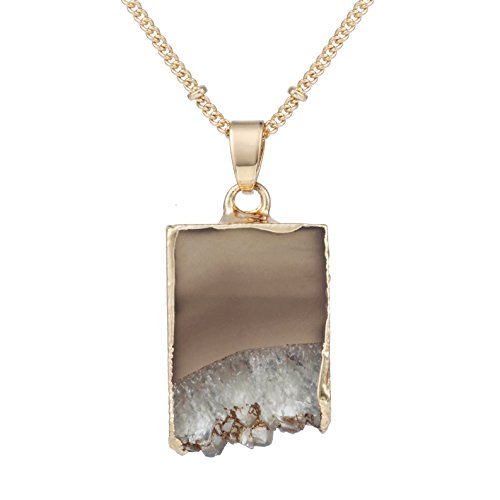 Stone Crystal Pendant Necklace Natural Stone Handmade Jewelry (5) (Natural Agate Stone Pendant)