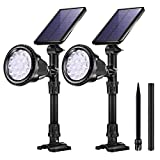 KASUN Outdoor Solar Lights, 18 LED Spotlight Waterproof Landscape Lights Solar Security Lamps for Garage Deck Garden Wall (White Light, Pack of 2)
