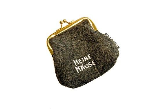 Portamonete / Borsa clic clac in feltro grigio chiaro / scuro con scritta tedesca ricamata - Portamonete scuro Meine Mäuse