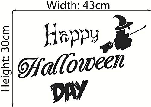 Wall Stickers - Creative Wallpaper Wall Sticker Happy Halloween Day Flying Witch Home Window Decoration Festival - Masks Hang Alphabet Mural 29 Zombie Jeremiah Clouds Characters Vines -