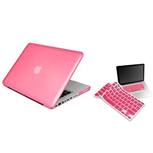 Clear Pink Hard Shell Case Compatible With 13-Inch Macbook Pro, W/ Free Light Pink Keyboard Skin