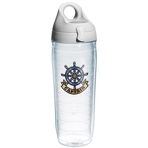 Tervis Captain Wheel Emblem Water Bottle with Grey Lid, 24-Ounce, On The (Captain Bottle)
