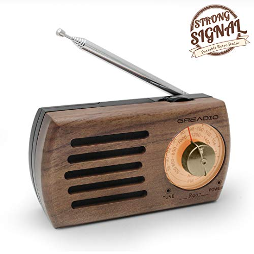 Portable AM/FM Pocket Radio, Retro Walnut Wood Battery Operated Radio with Best Reception, Headphone Jack for Waliking, Jogging, and Travelling (The Best Radio Shows)