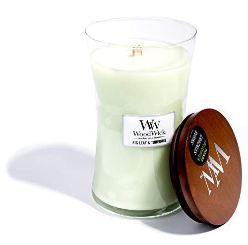 (WoodWick Fig Leaf & Tuberose, Highly Scented Candle, Classic Hourglass Jar with Lid, Large 7 Inches, 21.5 OZ)