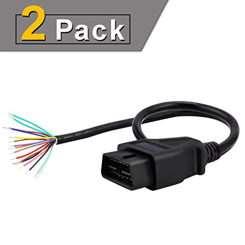 iKKEGOL Cable alargador de Cable de diagnóstico para Coche, 30 cm, 12 Pines, J1962, OBD II OBD2, Hembra, 2X Male Connector...