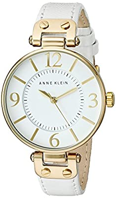 Anne Klein Women's 109168WTWT Gold-Tone and White Leather Strap Watch
