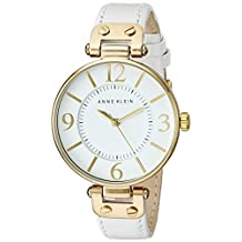 Anne Klein Women's 109168WTWT Gold-Tone Round White Leather Strap Watch