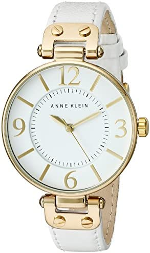 Anne Klein Women s 109168WTWT Gold-Tone and White Leather Strap Watch