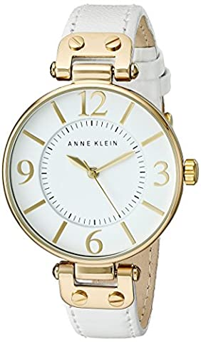 Anne Klein Women's 109168WTWT Gold-Tone and White Leather Strap Watch (Leather Round Watch)