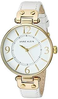 Anne Klein Women's 109168WTWT Gold-Tone Round White Leather Strap Watch (B0030DFF9A) | Amazon Products