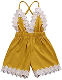 23ef2930550 Toddler Baby Girls Lace Trim Backless Romper Halter One-Pieces Jumpsuit  Outfit Clothes 0-