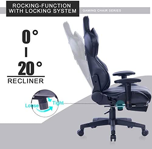 Blue Whale Gaming Chair with Adjustable Massage Lumbar Pillow,Retractable Footrest and Headrest -Racing Ergonomic High-Back PU Leather Office Computer Executive Desk Chair (GM039Black-2) 414Jancq1YL