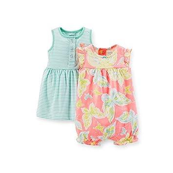 4eb9e42b7660 Amazon.com   Carters Baby Girls  Butterfly Dress Romper Set - 2 Pack ...