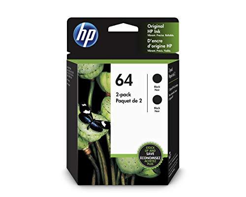 HP 64 Black Ink Cartridge (N9J90AN), 2 Cartridges (3YP22AN)