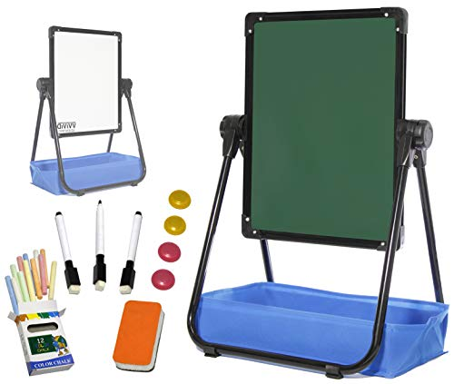 VViViD Reversible Aluminum U-Frame 33 Inch Tall Adjustable Chalkboard and Magnetic Whiteboard Kid's Activity Easel Bundle with Art Supplies - Magnetic Aluminum Chalkboards
