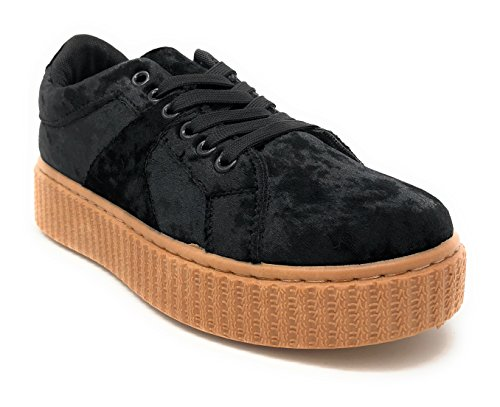Pink Label Women's Stylish Chic Lace-up Velvet Fashion Sneaker in Black Size: 8