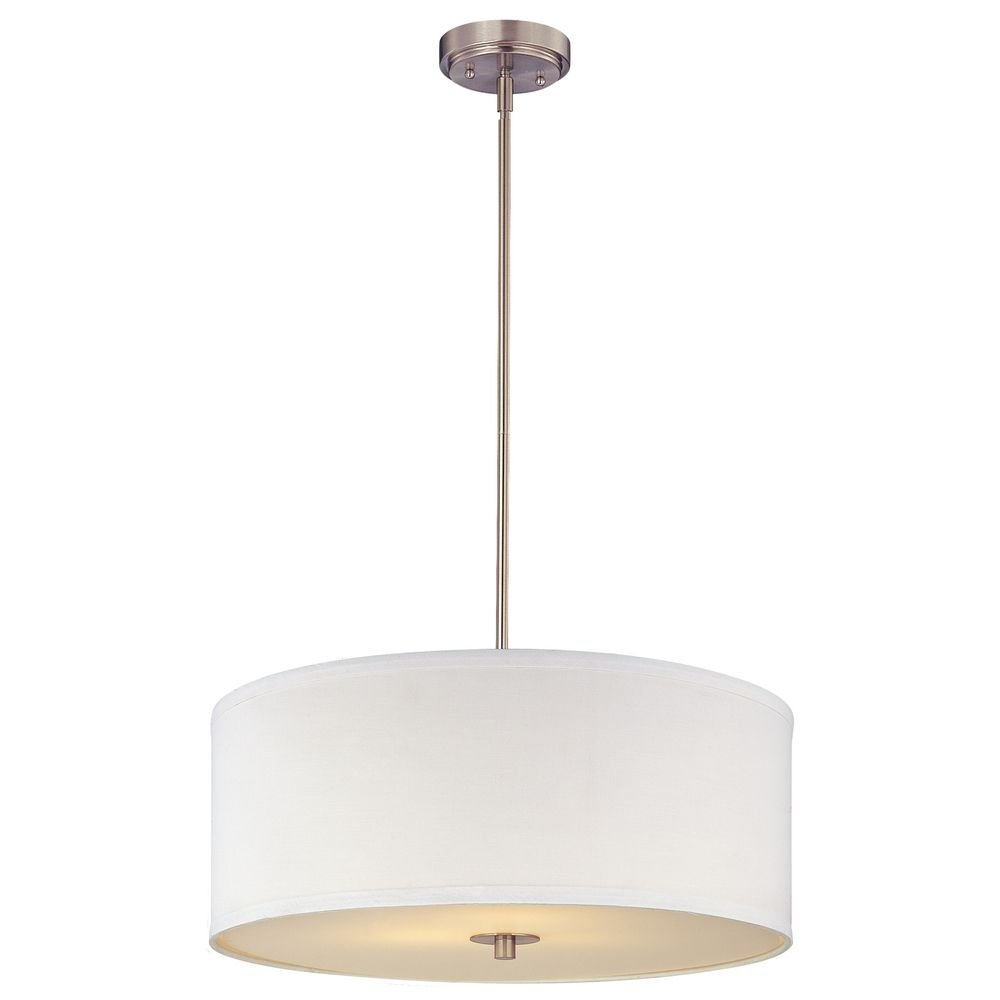 modern drum pendant light with white shade in satin nickel finish  ceilingpendant fixtures  amazoncom. modern drum pendant light with white shade in satin nickel finish
