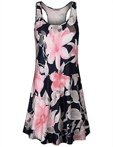 Hibelle Midi Dresses for Women, Casual Summer Scoop Neck Sleeveless Racerback Jersey Knit Tee Shirt Dress with Pockets Floral Pattern Smooth Dressy Sundresses Plus Size Blue X Large ()