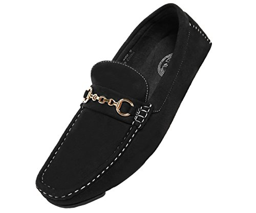 Amali The Original Mens Microfiber Slip-On Loafer with Chain Ornament, Comfortable Driving Moccasins, Style Ecker
