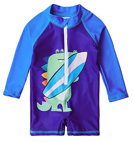 Pattern Beachwear - Uideazone Baby Toddler Boy Swimsuit Rash Guard Swimwear One Piece Crocodile Pattern Summer Beachwear 6-12 Months