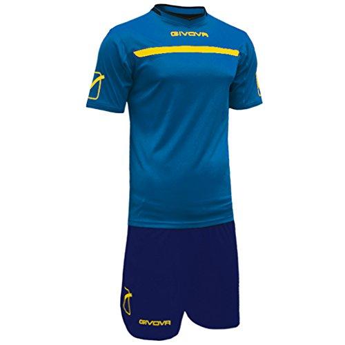 Marchio Givova - Modello Kit One - completino di maglia manica corta e pantaloncino / Home Shop Italia (AZZURRO/GIALLO, XL)