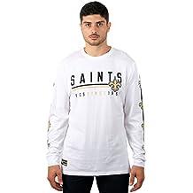 Icer Brands NFL Men's T-Shirt Active Basic Long Sleeve Tee Shirt, White