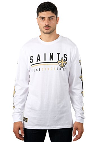 Icer Brands NFL New Orleans Saints Men's T-Shirt Active Basic Long Sleeve Tee Shirt, X-Large, White