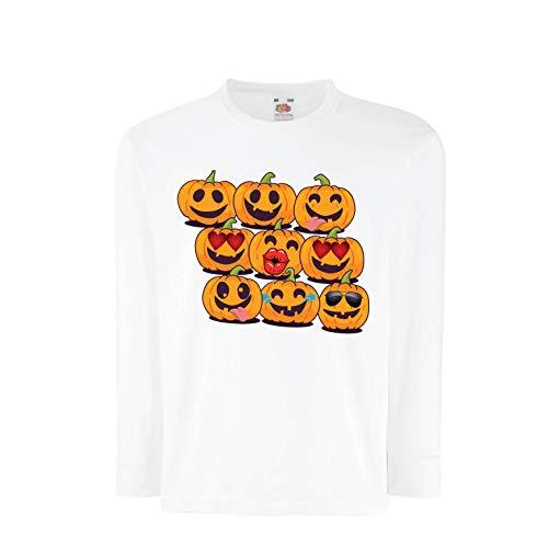 lepni.me Kids T-Shirt Pumpkin Emoji Funny Halloween Party Costume (5-6 Years White Multi Color) -