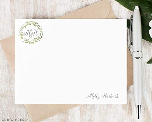 (WREATH - Personalized Flat Monogram Card Stationery/Stationary Note Card Set)