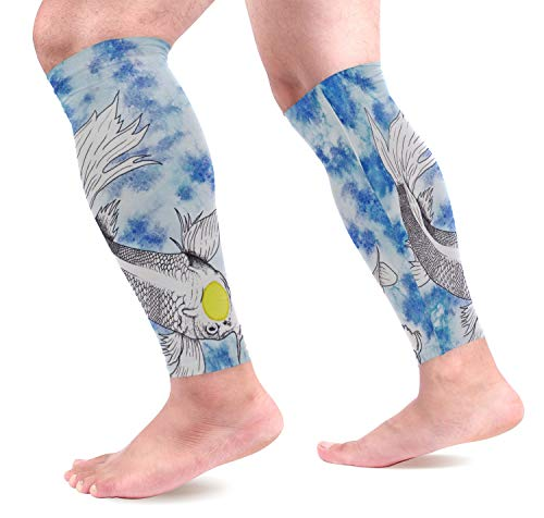 LEVEIS Animal Fish Carp Koi Arm Sleeves UV Protection for Men Women Sunblock Protective Gloves Running Golf Cycling Driving Long Arm Cover 1 ()