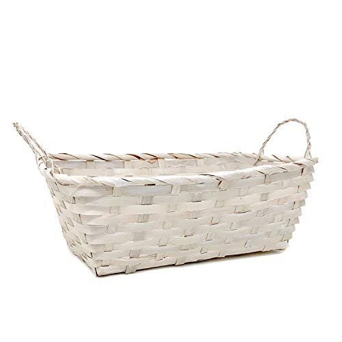 The Lucky Clover Trading Rect Bamboo Utility Basket with Ear Handles - White Wash 12in