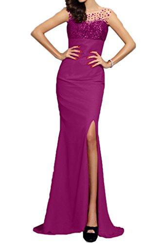 Paillette Partykleid Promkleid Fuchsie Festkleid Schlitz Modern Ivydressing Damen Mermaid qwTHIHf