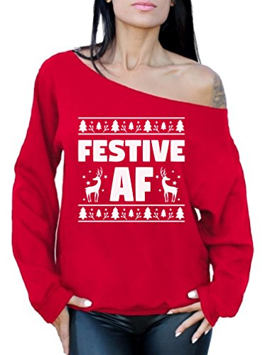 Awkward Styles Festive AF Sweatshirt Festive AF Sweater Ugly Christmas Off Shoulder Top Red S (Christmas Jolly Merry)