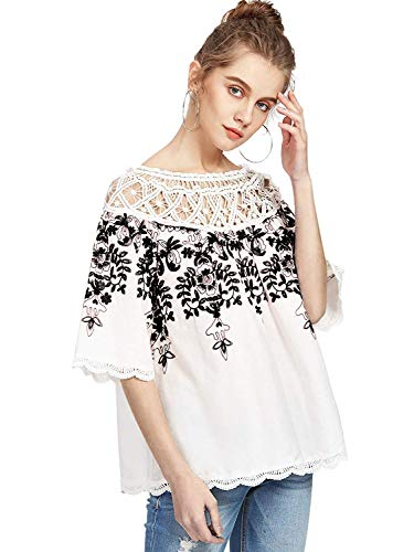(Romwe Women's Cold Shoulder Floral Embroidered Lace Scalloped Hem Blouse Top White Black M)