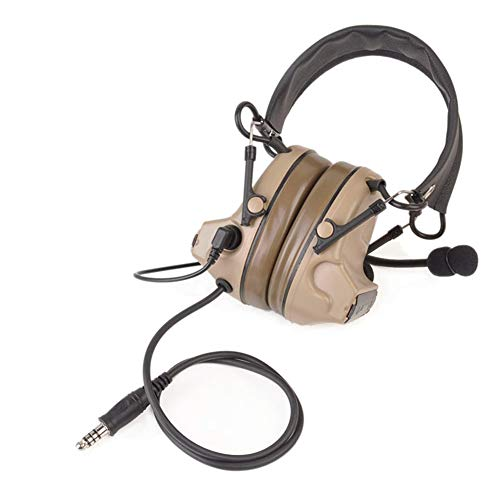 Newest camouflage headp Comtac II Tactical Headset Noise Reduction Electronic Sound Pickup Safety Ear Muffs with Microphone (DE, onesize)