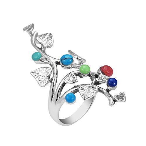 AeraVida Beautiful Vine Leaf Round Multi Stone .925 Sterling Silver Ring