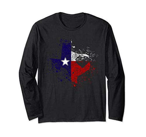 TX State Tee gift Distressed Retro Home Heart Texas Map flag Long Sleeve T-Shirt