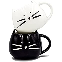 Boseen Lovely Little Cute Cat Coffee Tea Milk Ceramic Mug Cup, Best Gift for Lover (Pack of 2)