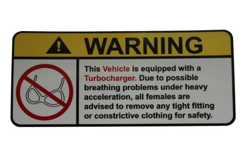 Vehicle Turbocharger No Bra, Warning decal, sticker