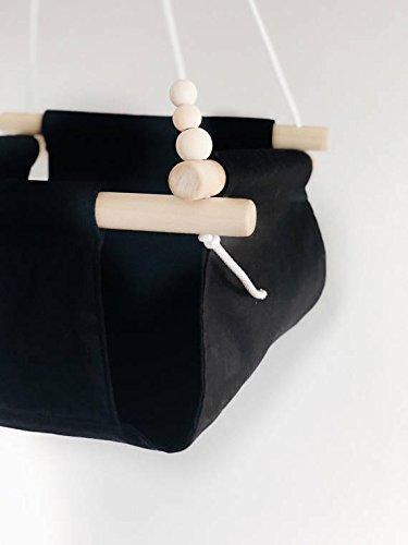 Indoor/Outdoor Black/Monochrome Fabric Baby Swing