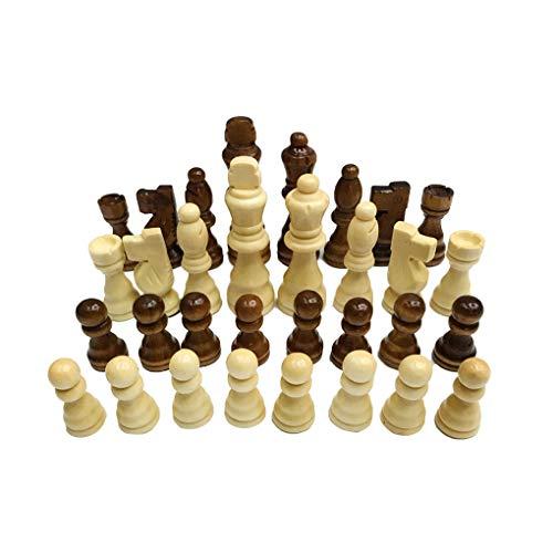 Hotaluyt Juego de ajedrez de Madera de 7,7 cm Rey 32 Piezas de ajedrez Figuras Peones Adultos Torneo de Juego de los…