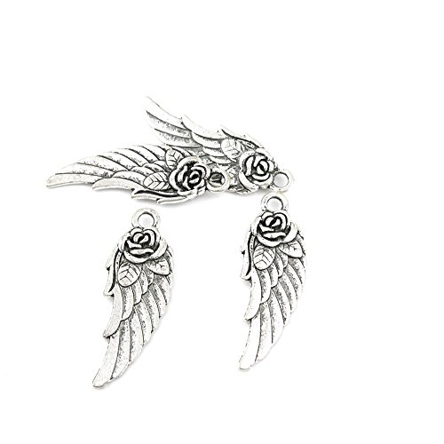 10 x Antique Silver Tone Jewelry Making Charms Findings Handmade Necklace Bracelet Bulk Lots Supplier Supply Crafting A0750 Flower Angel Wing