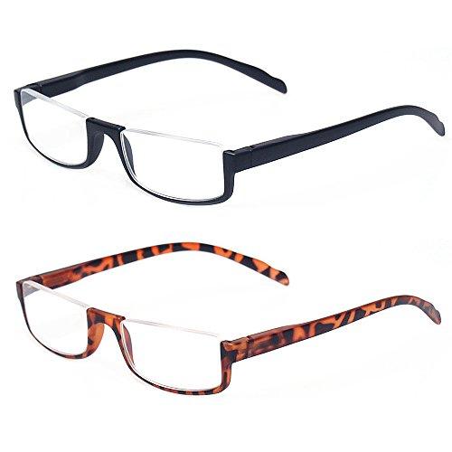 - Reading glasses 2 Pair Half Moon Half Frame Readers Spring Hinge Men and Women Glasses (2 Pack Mix Color, 2.00)