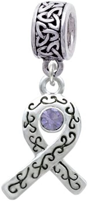 Birthday Crystal Charm Bead Delight Jewelry Silvertone Purple Ribbon