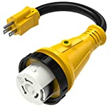 Kohree Dogbone Heavy Duty RV Power Cord Plug Adapter, 15Amp Male to 50Amp Female With Twist Lock, LED Indicator