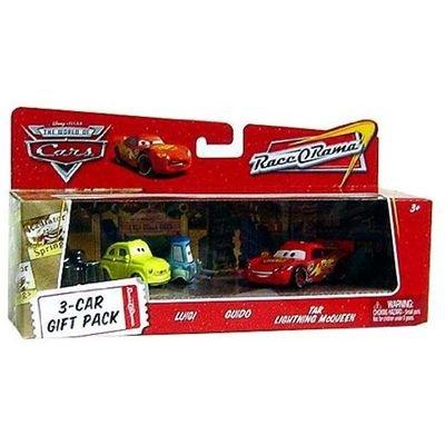 Pixar CARS Movie 1:55 Die Cast Car Race-O-Rama 3-Car Gift Pack Luigi Disney Guido and Tar Lightning McQueen Mattel Toys N9763