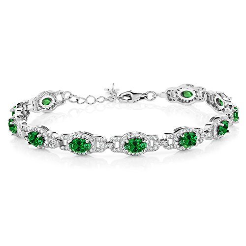 Emerald Gemstone Bangle Bracelet - Gem Stone King 925 Sterling Silver Oval Green Simulated Emerald Women's 7 Inch Bracelet With 1 Inch Extender, 11.08 Ctw