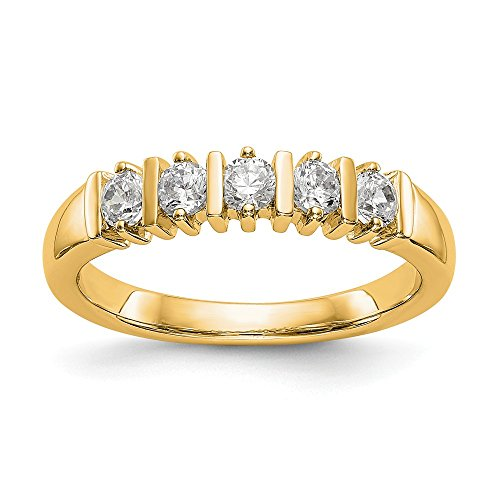 Bar Channel Diamond Band - KIOKORI 14K Yellow Gold Ladies 5-Stone Diamond Channel Bar Set Band 1/2-Carat tw ~ Ring Size 7 1/4 ~ by Roy Rose Jewelry